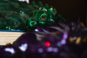 Green and Purple Dragon Candles