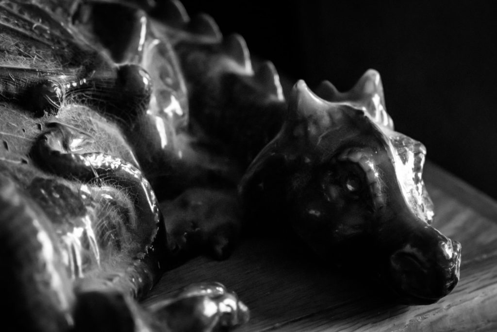 Dragon Candle in Black & White