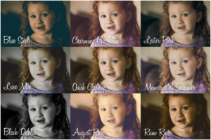 Grid of edited photos of toddler smiling